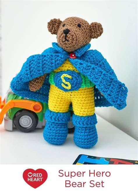 pering gift set red heart yarns free patterns pinterest super hero bear set free crochet pattern in red heart