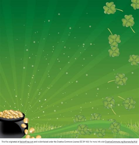 green floral background with pot of gold vector free