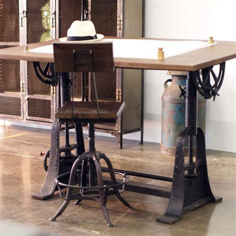 Industrial Style Drafting Desks Eclectic Home Office Industrial Home Office Desk