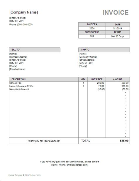Billing Invoice Template For Excel Billing Invoice Template