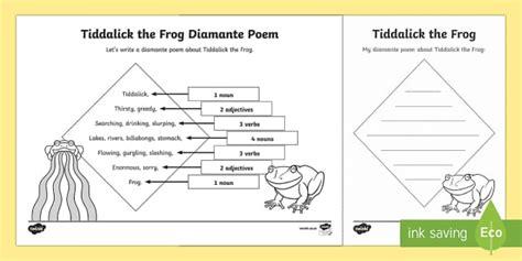 Tiddalick The Frog Diamante Poem Writing Template Australian Diamante Poem Template