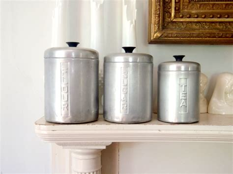 Vintage Metal Kitchen Canister Sets | italian metal kitchen canister set vintage storage by