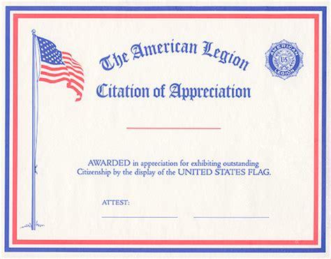 american legion letterhead template flag citation of appreciation american legion flag emblem