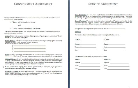 consignment agreement form free printable documents