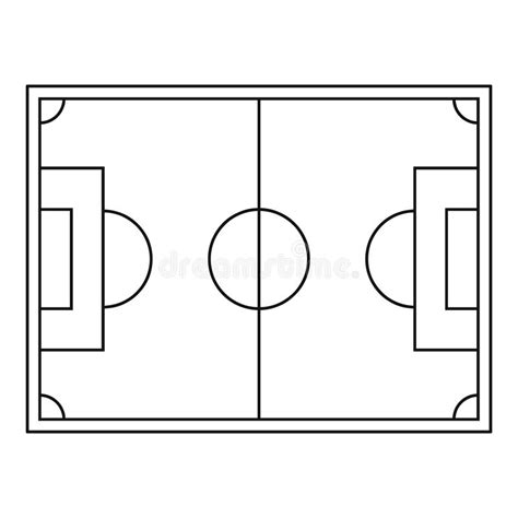 ayso player id card template top view of soccer field icon outline style stock vector