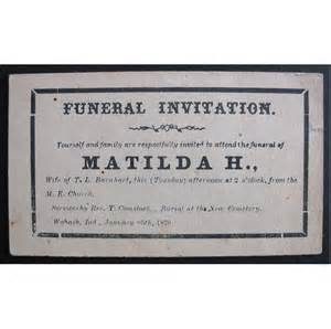 1870 funeral invitation oddity for altered or collecting