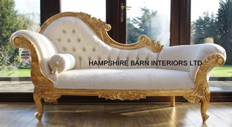 ornate chaise lounge chaise longue ornate gold leaf ivory fabric lounge sofa