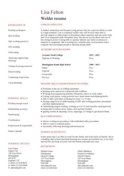 welder resume exles