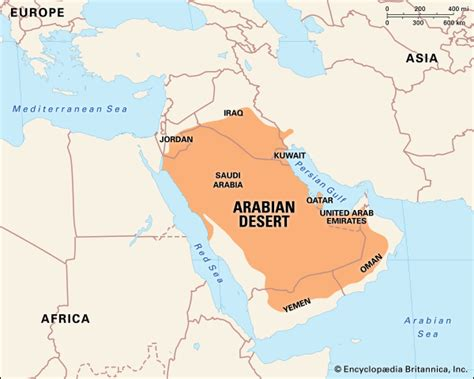 arabian desert map arabian desert facts location plants animals map britannica
