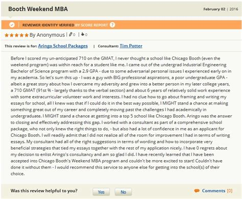 Booth Weekend Mba Deadlines by Gmat Club Mba Admission Consultant Reviews Of Aringo