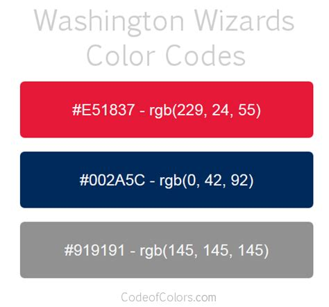 washington wizards colors hex and rgb color codes