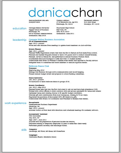Resume Sle For Students Format Resume And Business Card Design Journal