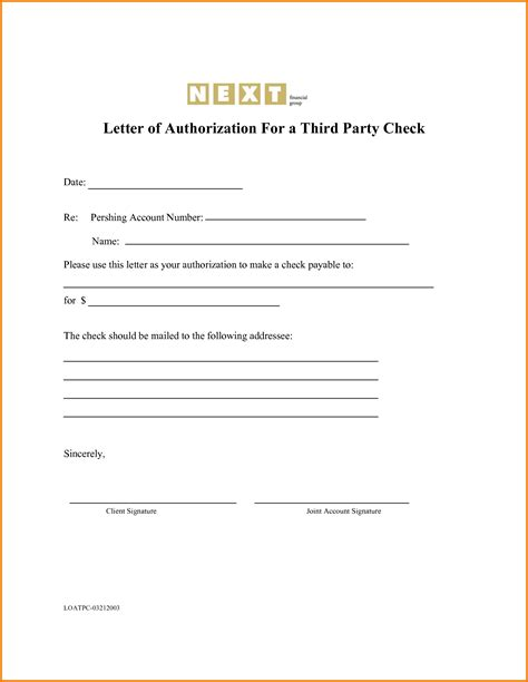 authorization letter to deposit by third third authorization letter authorization letter pdf