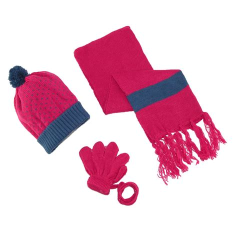 toddlers patterned hat gloves on a string and scarf winter