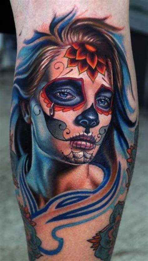 santa muerte tattoo images santa muerte with flower on forehead