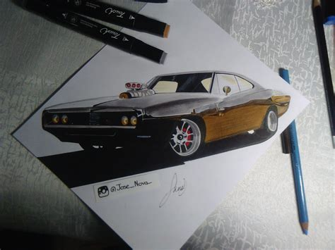 auto draw charger speed drawing realistic car tutorial como