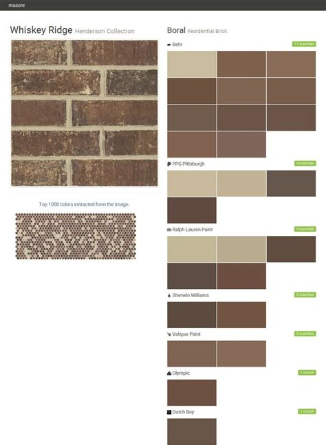 whiskey ridge henderson collection residential brick boral behr ppg paints ralph
