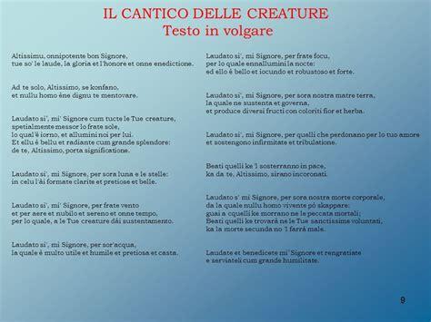 testo cantico delle creature il cantico delle creature di san francesco d assisi ppt