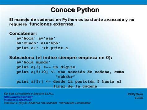 como concatenar cadenas en python programaci 243 n en pl python