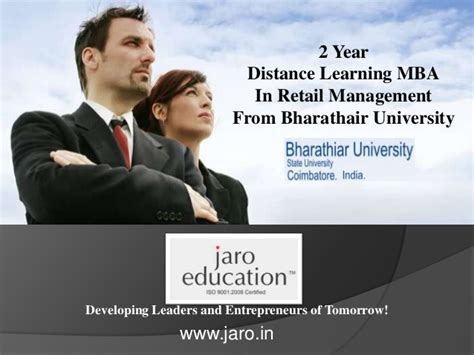 Mba In Retail Management Distance Learning by Bharathiar Distance Mba In Retail Management Jaro Education