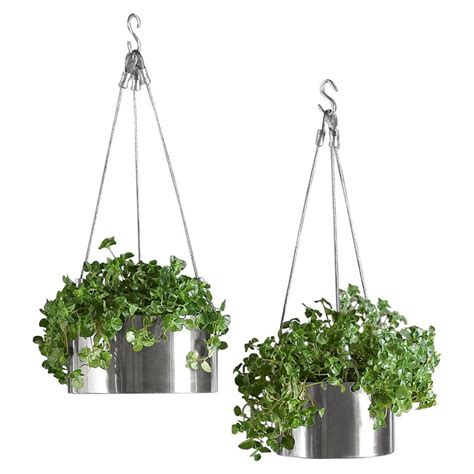 modern hanging planters bari stainless steel hanging planters the green head
