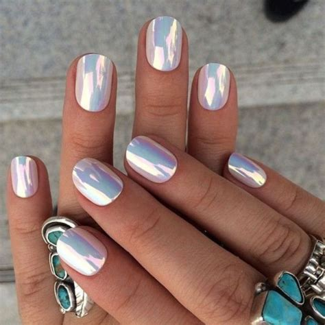 outstanding chrome nails design ideas  winter
