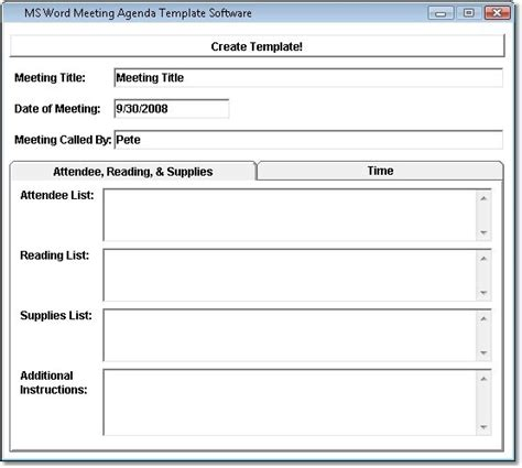 ms word meeting agenda template software free download