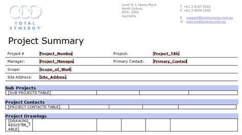 documentation template for project project document template