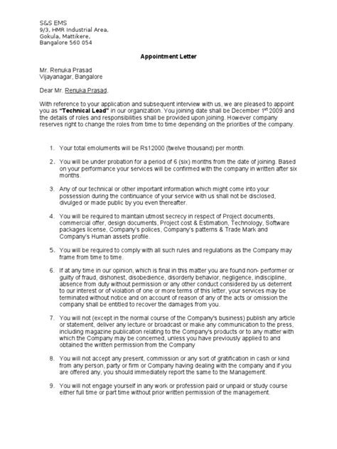 Appointment Letter And Regulations Appointment Letter Format