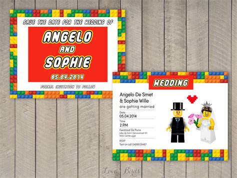 Lego Wedding Invitation Set Save The Date Invitation By Sophieslovebirds On Etsy Wedding Wars Save The Date Templates