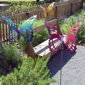 Large Metal Garden Art - large metal butterfly garden sculpture stake purple blue 171 patio lawn and garden