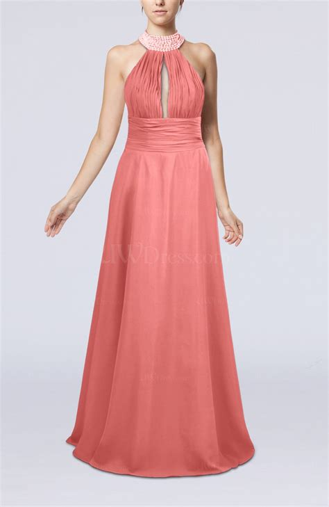 coral a line sleeveless zip up floor length