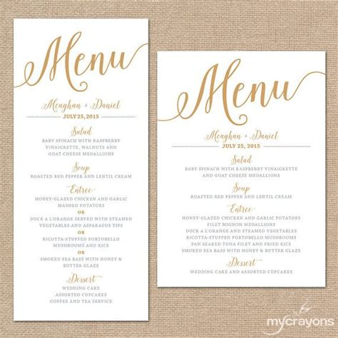 menu card templates gold wedding menu cards wedding menu template gold