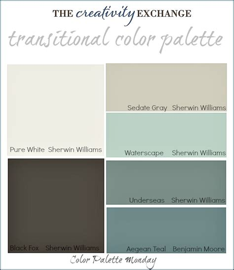transitional paint color palette color palette monday 3 mondays creativity and room