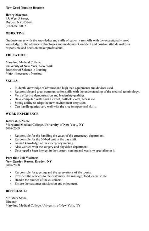 sample resume for a new grad rn nursecode com