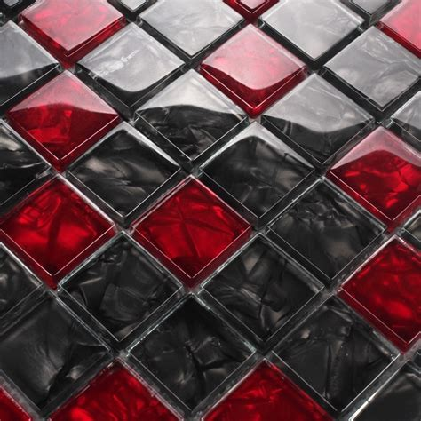 Glass kitchen picture more detailed picture about red and black crystal glass mosaic for