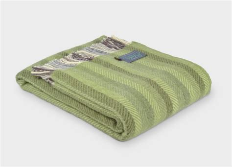 Green Blankets And Throws by The Blanket Company Green Stripe Wool Throw