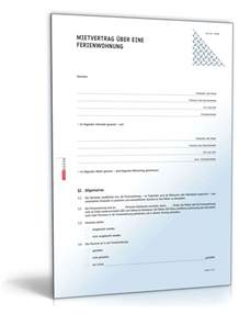 Vorlage Rechnung Vermietung Ferienwohnung Mietvertrag Ferienwohnung Rechtssicheres Muster Zum