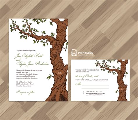 printable wedding invitations tree free pdf rustic wedding invitation and rsvp template