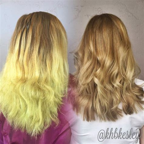 chlorine color color correction from chlorine damaged to balayaged