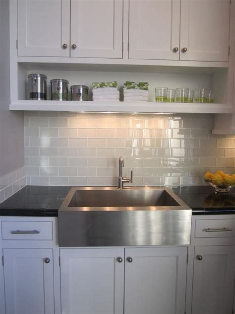 glass and stainless steel backsplash gray subway tile contemporary kitchen artistic