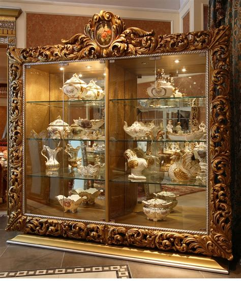 luxurious wooden carving showcase cabinet using clear luxury french rococo style golden decor floral carving