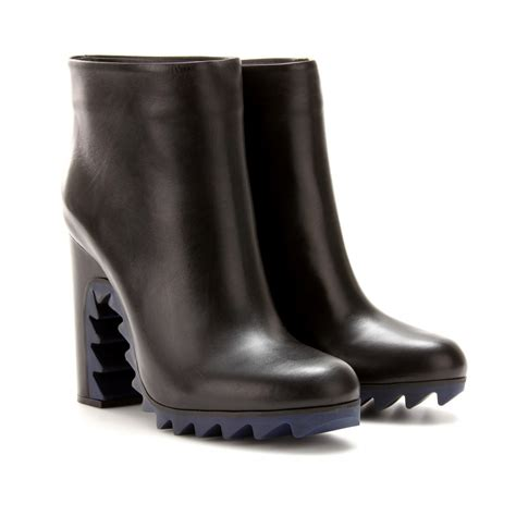jil sander leather boots with spiked rubber sole in black