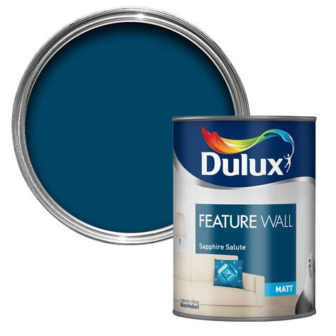 Diy Livingroom Dulux Feature Wall Sapphire Salute Matt Emulsion Paint 1
