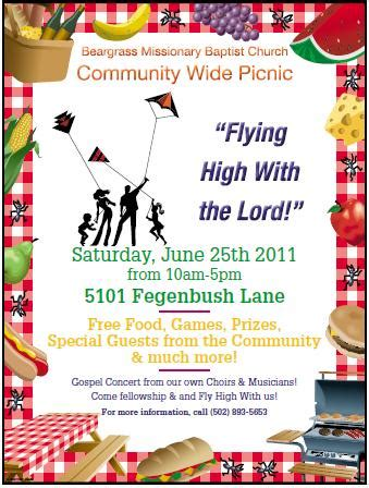 Beargrass Baptist Church Community Wide Picnic Louisville Com Free Church Picnic Flyer Templates
