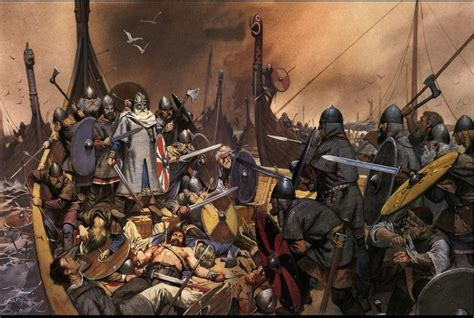 king olaf tryggvason s last stand battle of svolder 999 or 1000 painting by angus mcbride