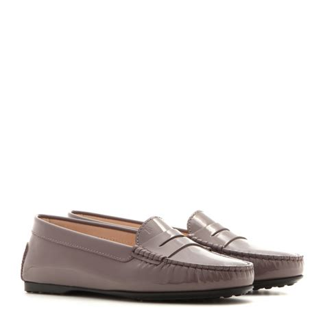 tods leather loafers lyst tod s gommino leather loafers in gray