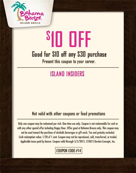 bahama breeze coupons printable bahamas coupons promo codes coupon code discounts