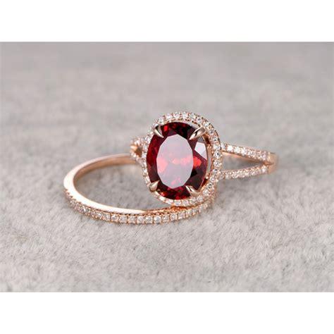 Garnet Ring by Garnet Wedding Ring Set Gold Split Shake S