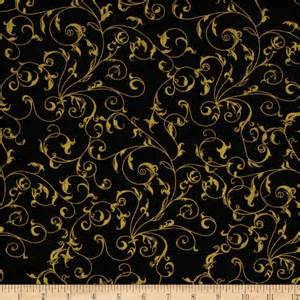Upholstery Fabric New Orleans Black And Gold White Gold